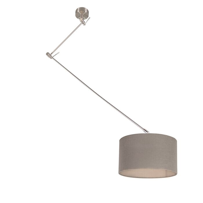 Hanging-lamp-steel-with-shade-35-cm-taupe-adjustable---Blitz-I