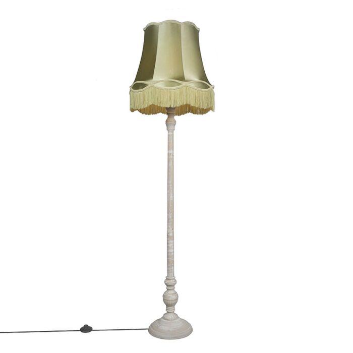 Retro-floor-lamp-gray-with-green-Granny-shade---Classico