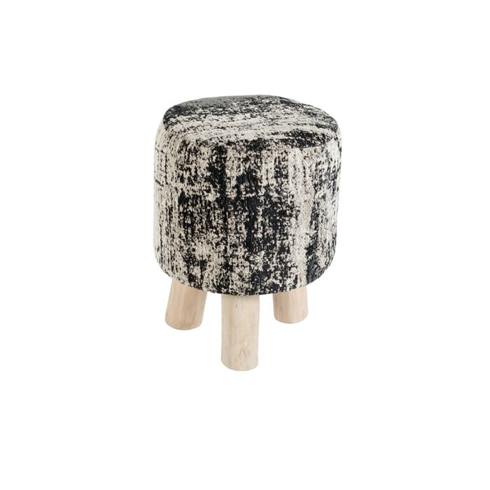 Vintage-Round-Stool-Faded-Black-30x30x40cm---Kochi
