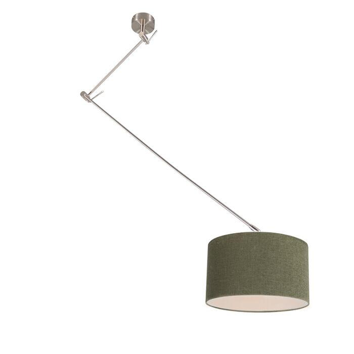 Hanging-lamp-steel-with-shade-35-cm-green-adjustable---Blitz-I