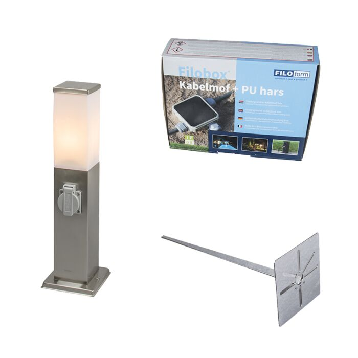 Modern-Outdoor-Pole-45cm-Steel-with-Socket-incl.-Ground-Pin-&-Cast-Resin-IP44---Malios