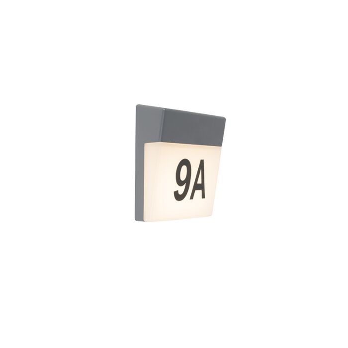 Exterior-wall-light-gray-incl.-LED-and-house-number-IP54---Numbers