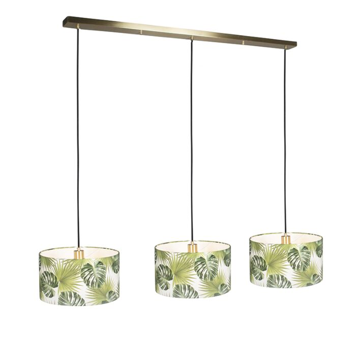 Pendant-Lamp-Combi-3-Gold-with-Leaf-Cylinder-Shade