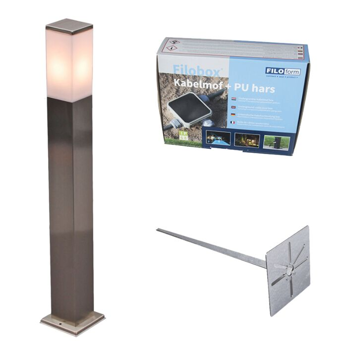 Outdoor-lamp-steel-80cm-IP44---Malios-with-ground-pin-and-cable-sleeve