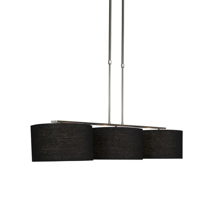Modern-hanging-lamp-steel-with-shade-35-cm-black---Combi-3-Deluxe
