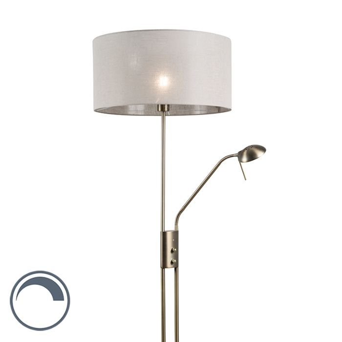 Floor-Lamp-Luxor-Bronze-with-Taupe-Cylinder-Shade