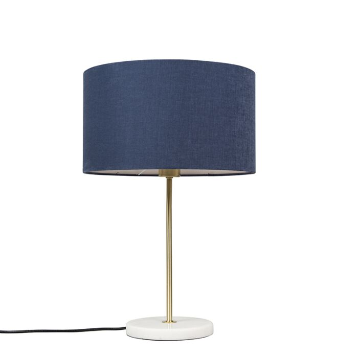 Brass-table-lamp-with-blue-shade-35-cm---Kaso