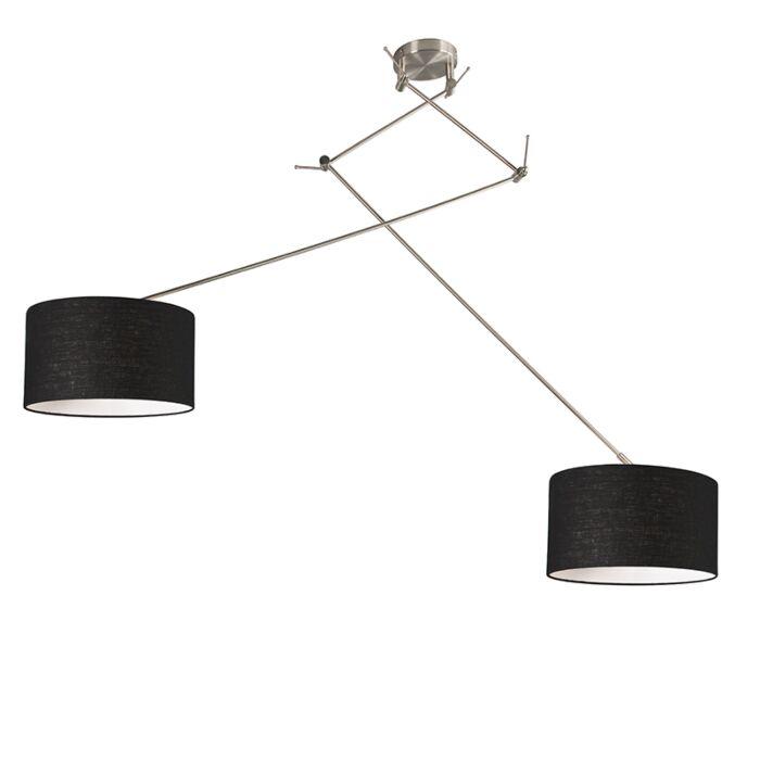 Hanging-lamp-steel-with-shade-35-cm-black-adjustable---Blitz-II