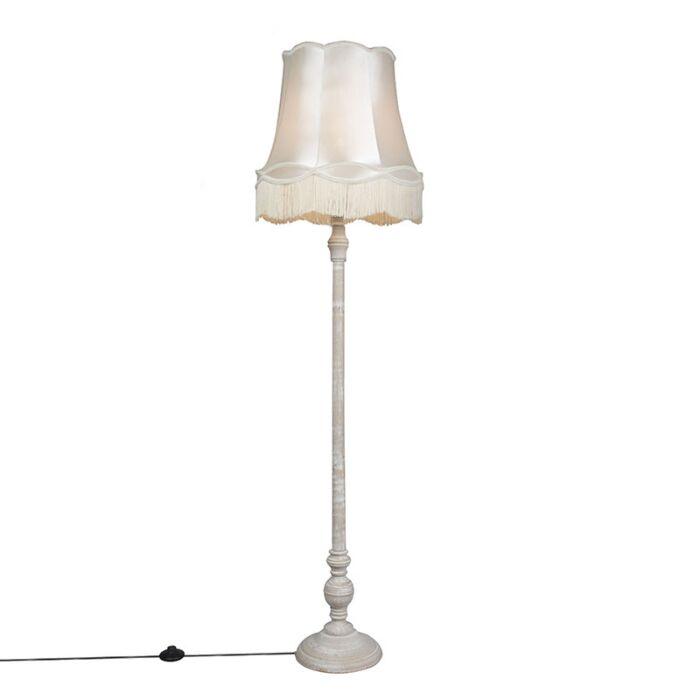 Floor-Lamp-Grey-with-45cm-Cream-Granny-Shade---Classico