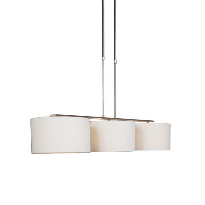 Modern-hanging-lamp-steel-with-shade-white---Combi-3-Deluxe