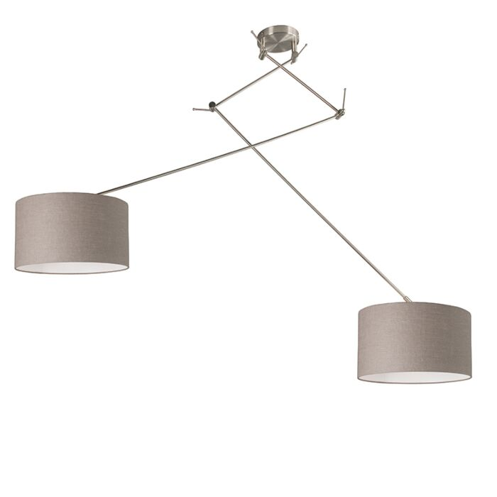 Hanging-lamp-steel-with-shade-35-cm-taupe-adjustable---Blitz-II
