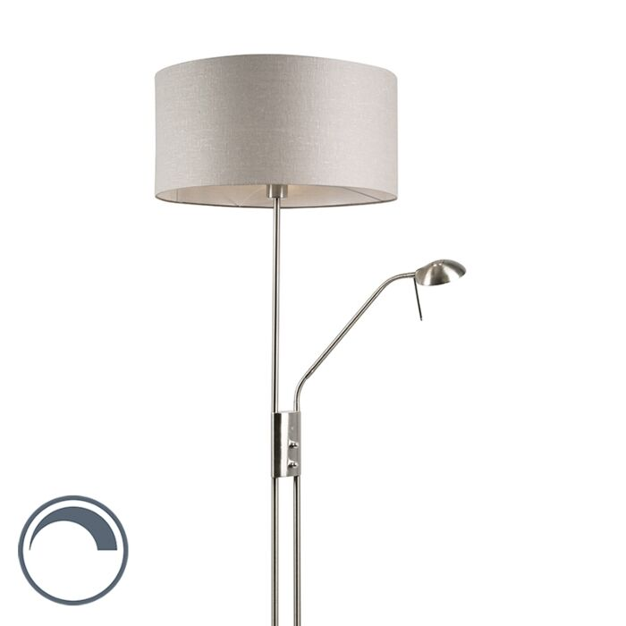 Floor-lamp-steel-and-gray-with-adjustable-reading-arm---Luxor