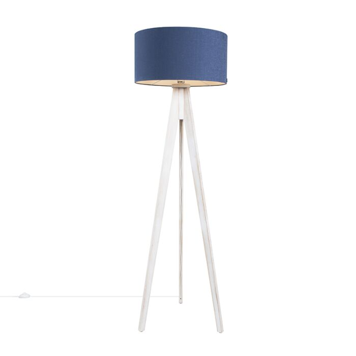 Floor-Lamp-Tripod-Classic-White-with-Antique-Blue-Cylinder-Shade