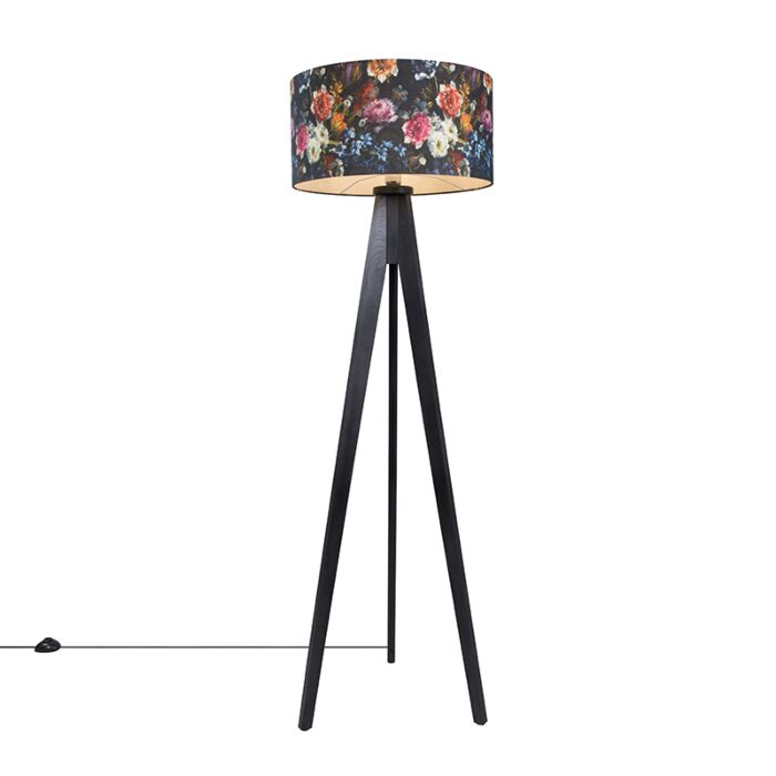 Floor-Lamp-Tripod-Classic-Black-with-Flora-Cylinder-Shade