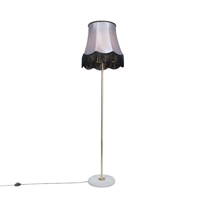 Brass-floor-lamp-with-Granny-B-shade-black-gray-45-cm---Kaso