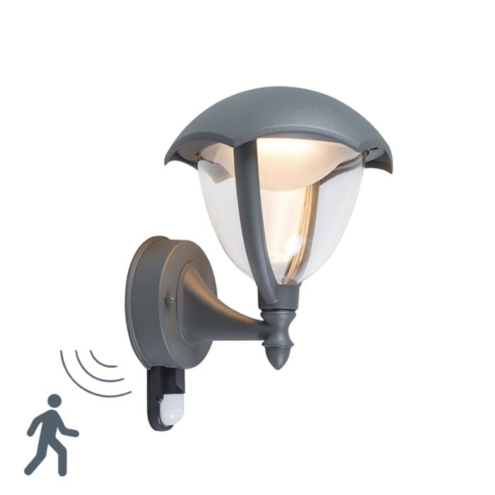 Modern-Outdoor-Wall-Lamp-Up-Dark-Grey-with-Motion-Sensor-incl.-LED---Cappe