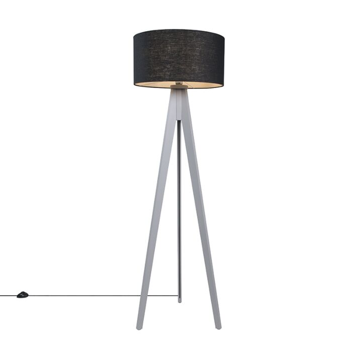 Floor-Lamp-Tripod-Classic-Grey-with-Black-Cylinder-Shade