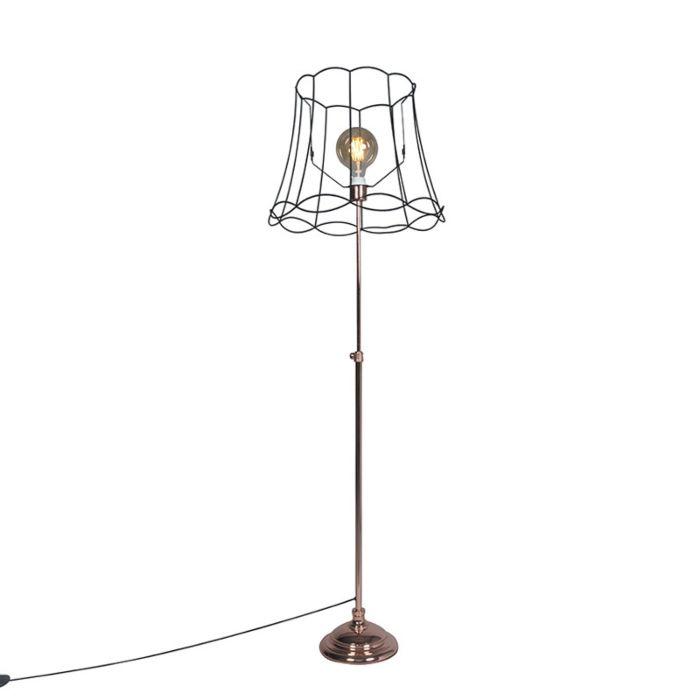 Floor-Lamp-Accia-Copper-with-Shade-Granny-Frame-50cm-Black