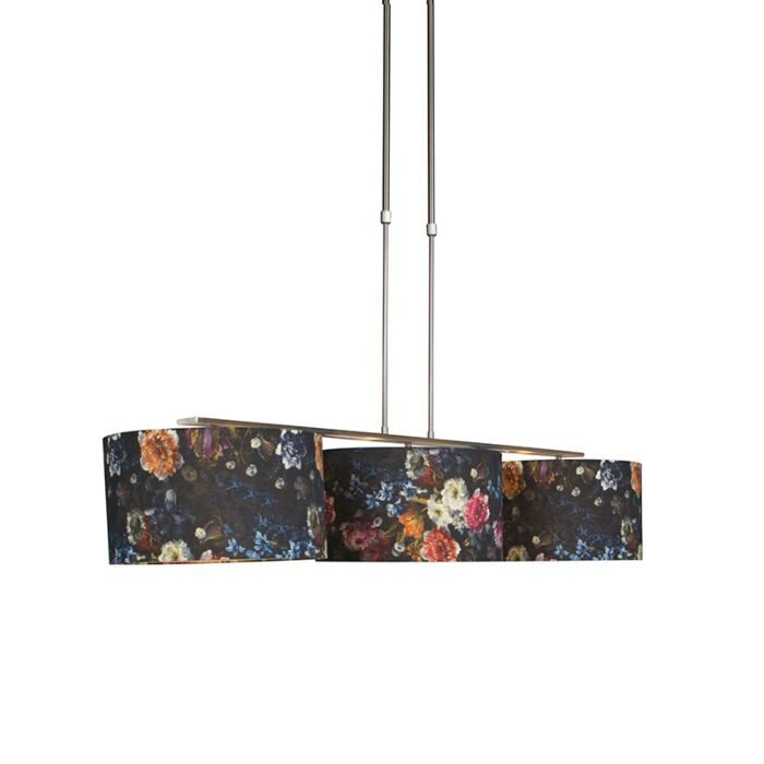 Modern-hanging-lamp-steel-with-shade-35-cm-flora---Combi-3-Deluxe