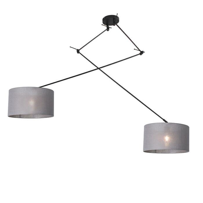 Hanging-lamp-black-with-shade-35-cm-gray-adjustable---Blitz-II