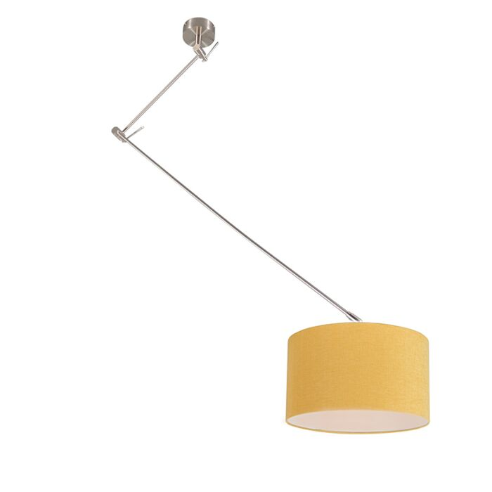 Hanging-lamp-steel-with-shade-35-cm-yellow-adjustable---Blitz-I
