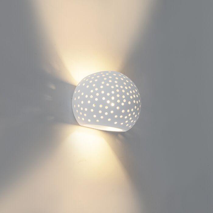 Vintage-Bowl-Wall-Lamp-White-Plaster/Ceramic---Blur