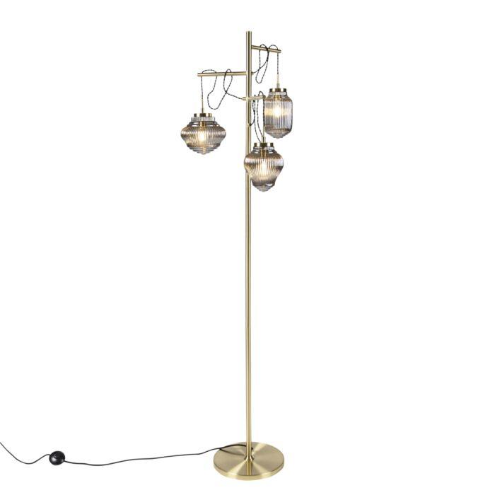 Art-Deco-floor-lamp-brass-with-smoke-glass-3-light---Bolsena