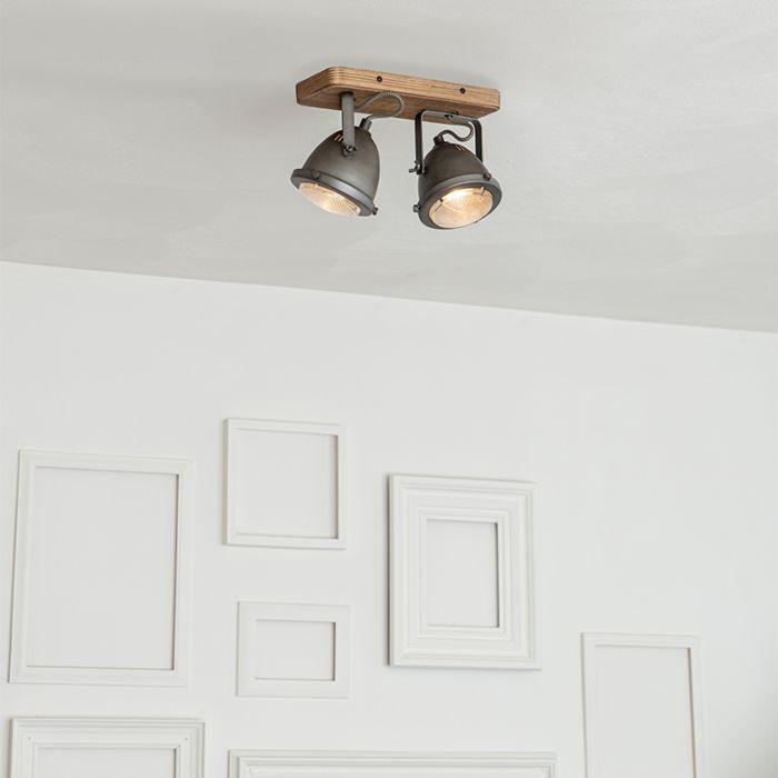 Industrial-spot-steel-with-wood-tiltable-2-light---Emado