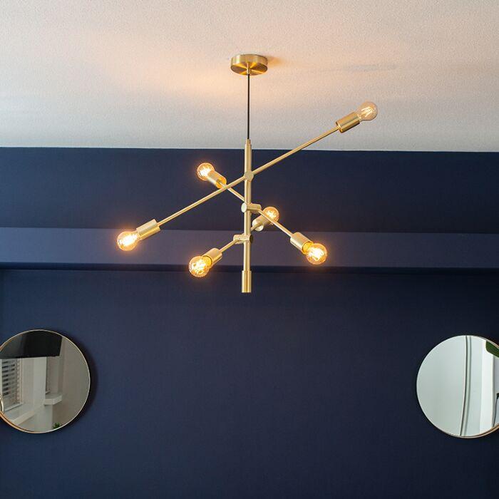 Art-deco-hanging-lamp-matt-brass-6-lights---Sydney