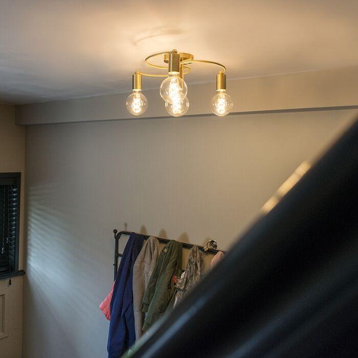 Art-deco-ceiling-lamp-brass-4-light---Facil