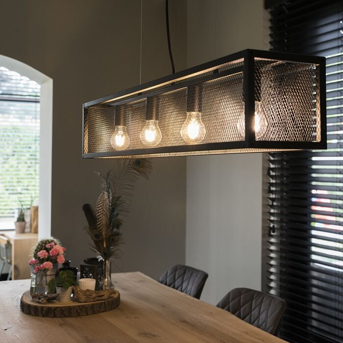 Industrial-hanging-lamp-black-with-mesh-4-light---Cage