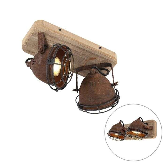 Industrial-spot-rust-brown-with-wood-tiltable-2-light---Gina