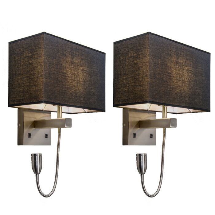 Set-of-2-wall-lamps-steel-with-shade,-reading-arm-incl.-LED---Bergamo
