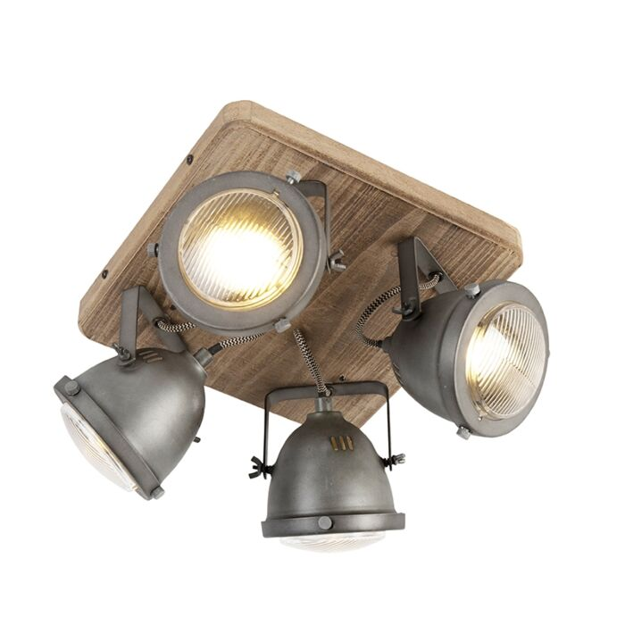 Industrial-spot-steel-with-wood-tiltable-4-light---Emado