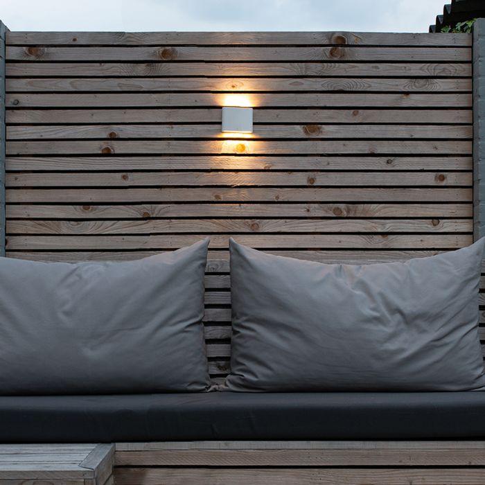 Modern-outdoor-wall-lamp-white-11.5-cm-incl.-LED---Batt