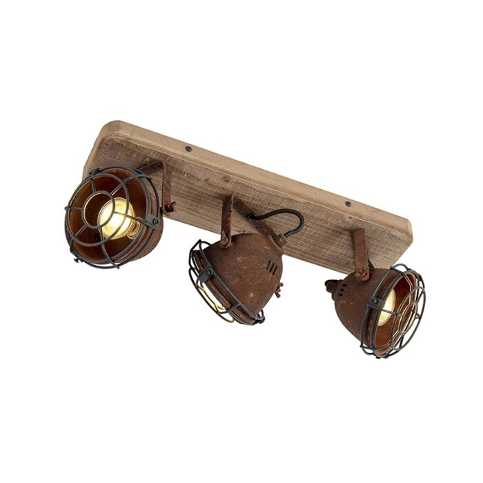 Industrial-spot-rust-brown-with-wood-tiltable-3-light---Gina