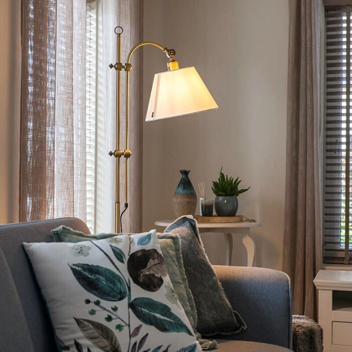 Classic-Floor-Lamp-Bronze-with-White-Shade---Ashley