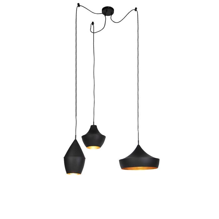 Set-of-3-Scandinavian-hanging-lamps-black-with-gold---Depeche