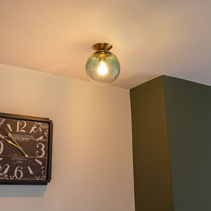 Art-Deco-Ceiling-Lamp-Brass-with-Green-Glass-Shade---Pallon