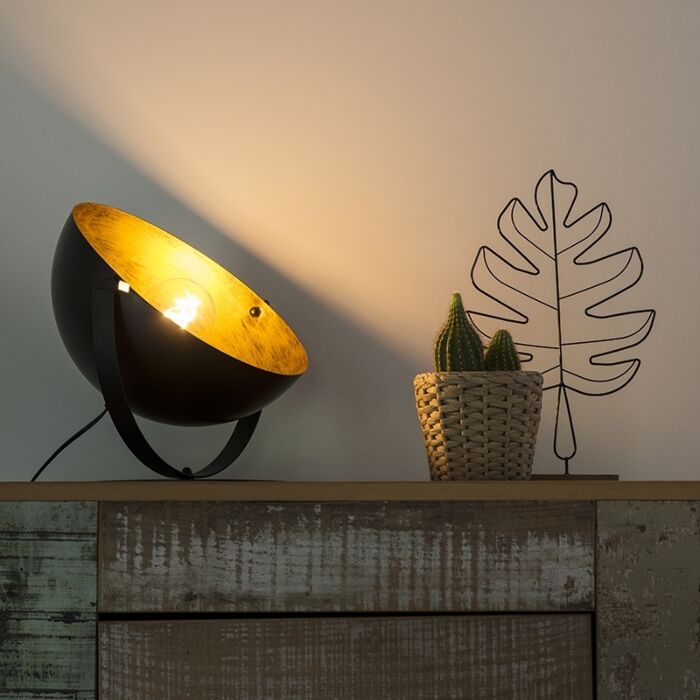 Industrial-table-lamp-black-with-gold-adjustable---Magna