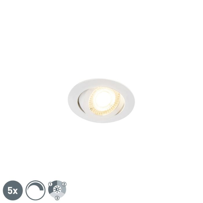 Set-of-5-recessed-spotlights-white-incl.-LED-3-step-dimmable---Mio