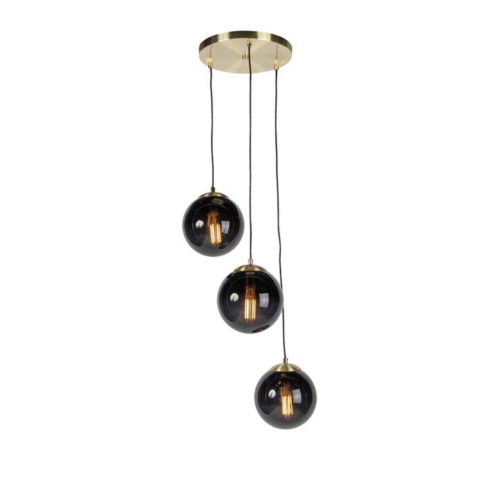 Art-deco-hanging-lamp-brass-with-black-glass-3-lights---Pallon