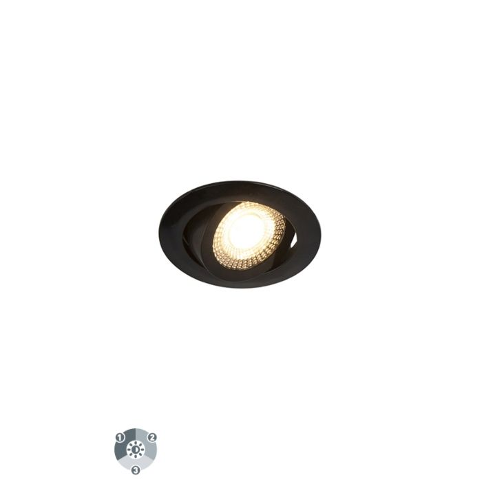 Set-of-5-modern-recessed-spotlights-black-incl.-LED-3-step-dimmable---Mio