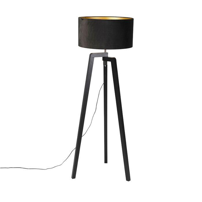 Floor-lamp-tripod-black-wood-with-black-shade-50-cm---Puros