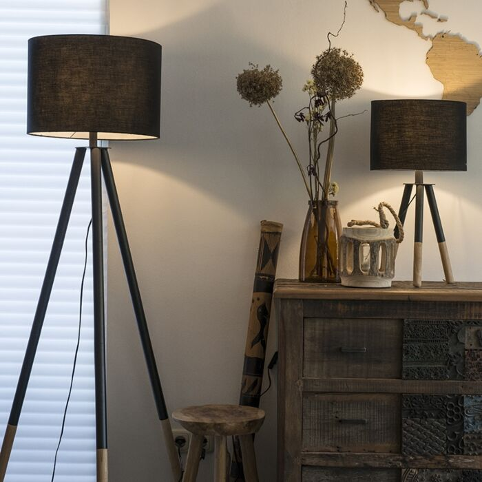 Set-of-Floor-Lamp-and-Table-Lamp-Tripods-with-Black-Shade---Pip