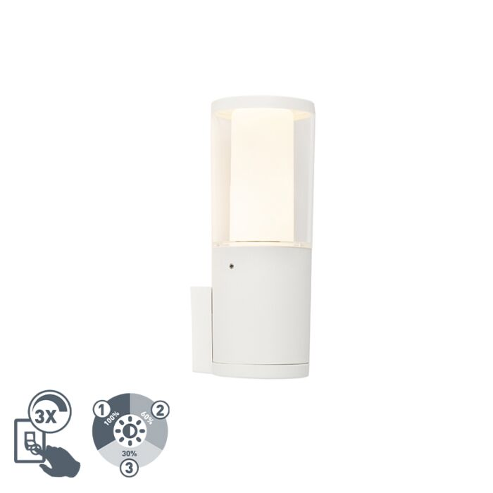 Modern-outdoor-wall-lamp-white-IP55-incl.-GU10-3-step-dimmable---Carlo