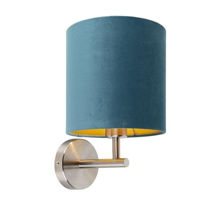 Tight-steel-wall-lamp-with-blue-velvet-shade---Matt