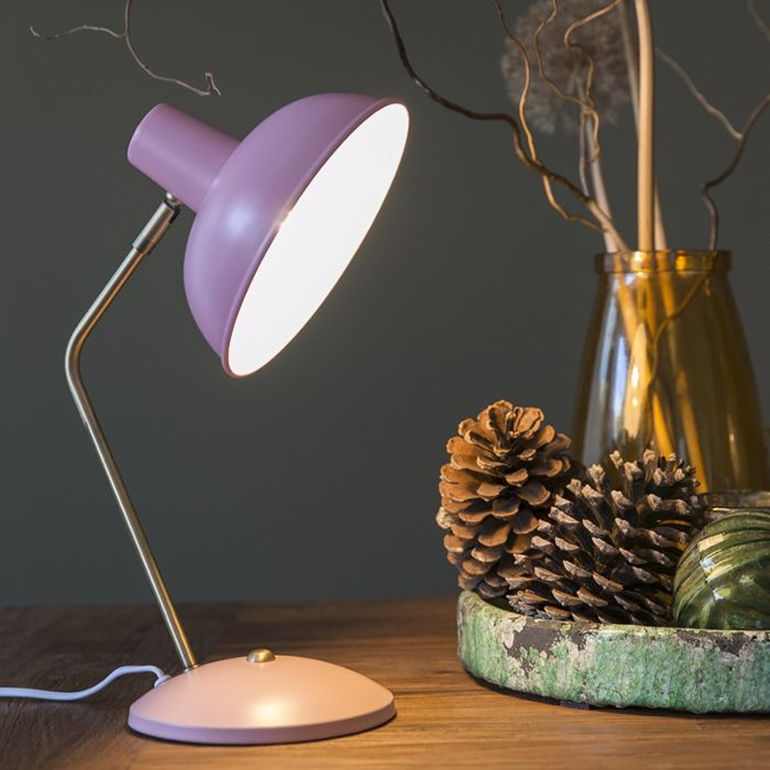 Retro-table-lamp-pink-with-bronze---Milou