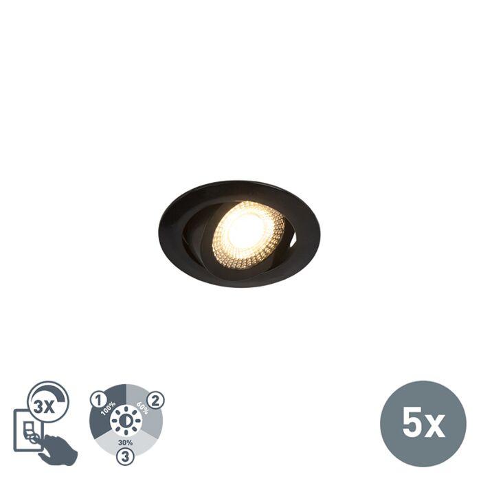 Set-of-5-black-recessed-spotlights-incl