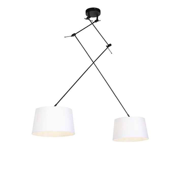 -Pendant-Lamp-with-Linen-Shade-35cm-White---Blitz-II-Black